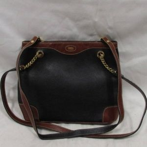 Vintage Bally Double Chain Bag Two-Tone Leather